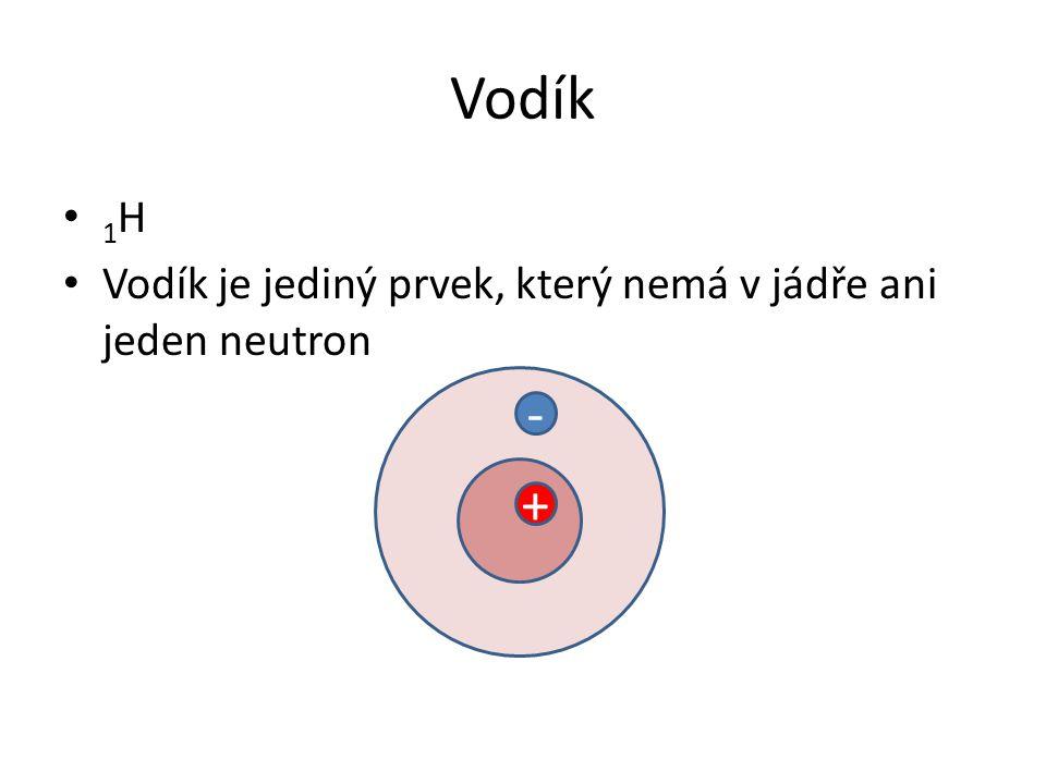 Vodík 1H Vodík je jediný prvek, který nemá v jádře ani jeden neutron - +