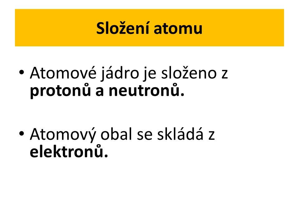 Složení atomu Atomové jádro je složeno z protonů a neutronů. Atomový obal se skládá z elektronů.