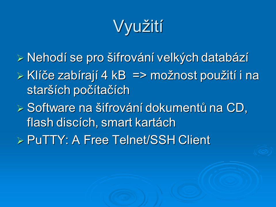 Využití Nehodí se pro šifrování velkých databází
