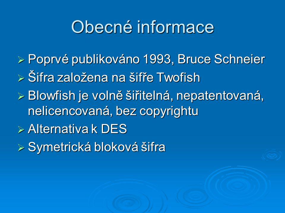 Obecné informace Poprvé publikováno 1993, Bruce Schneier
