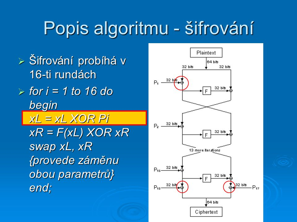Popis algoritmu - šifrování