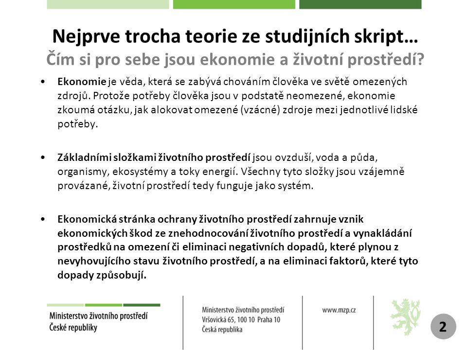 Nejprve trocha teorie ze studijních skript… Čím si pro sebe jsou ekonomie a životní prostředí