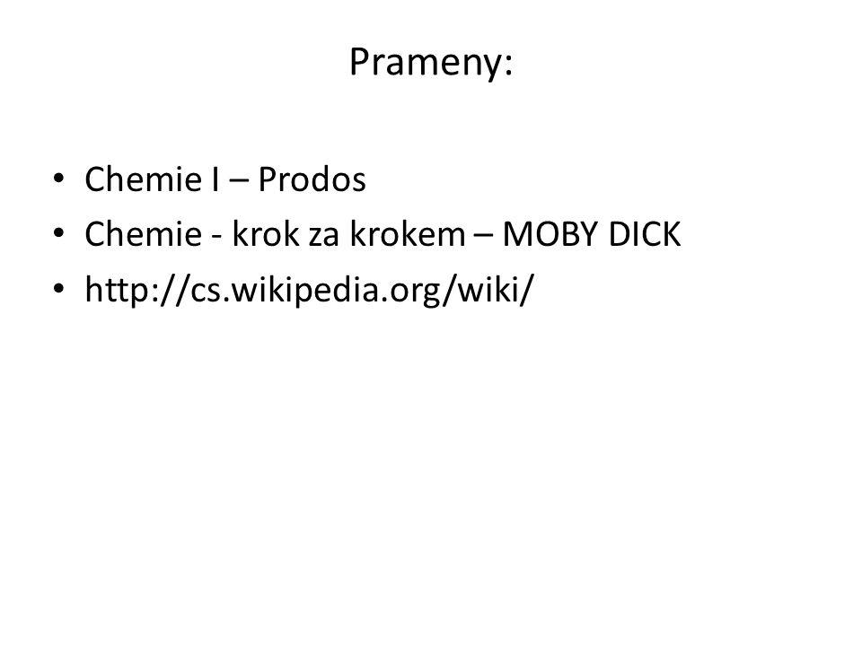 Prameny: Chemie I – Prodos Chemie - krok za krokem – MOBY DICK