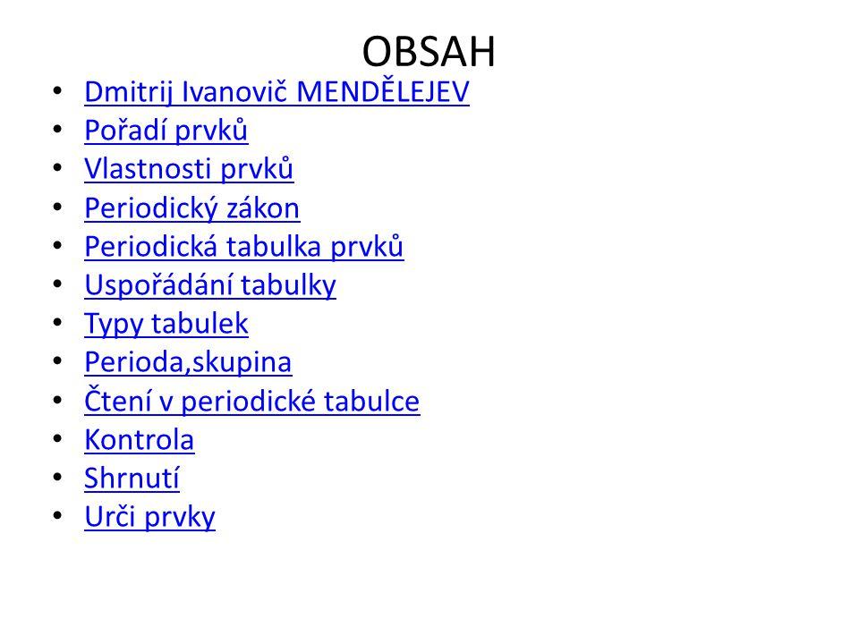 OBSAH Dmitrij Ivanovič MENDĚLEJEV Pořadí prvků Vlastnosti prvků