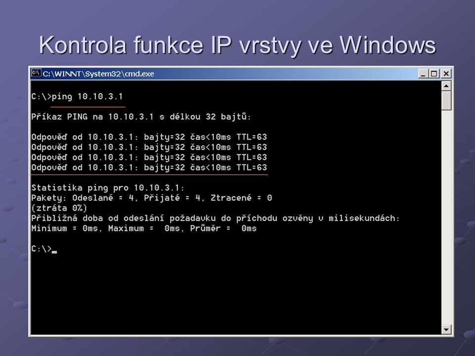 Kontrola funkce IP vrstvy ve Windows
