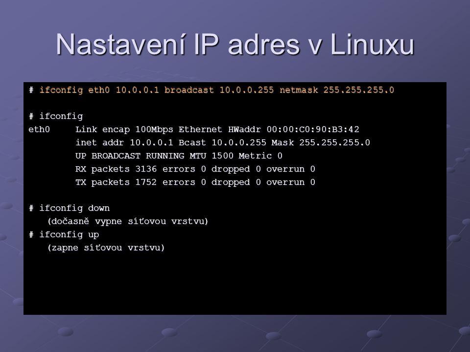 Nastavení IP adres v Linuxu