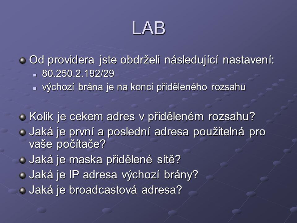 LAB Od providera jste obdrželi následující nastavení: