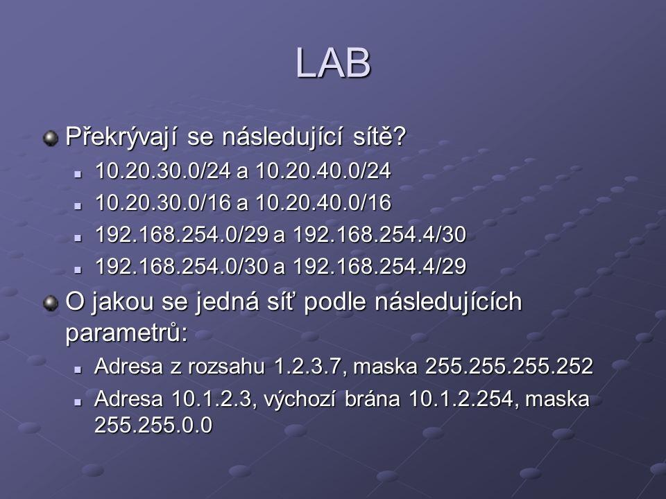 LAB Překrývají se následující sítě