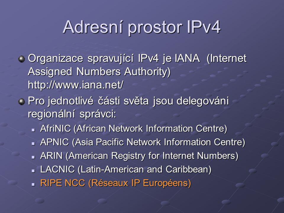 Adresní prostor IPv4 Organizace spravující IPv4 je IANA (Internet Assigned Numbers Authority) http://www.iana.net/