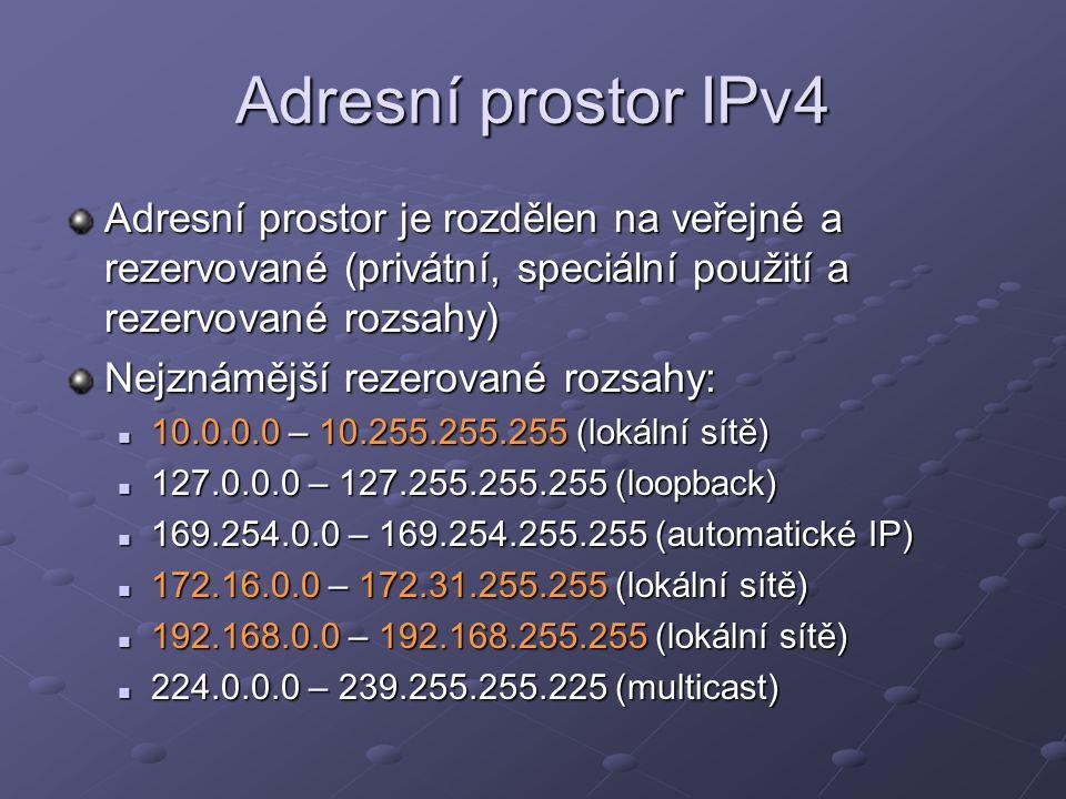 Adresní prostor IPv4 Adresní prostor je rozdělen na veřejné a rezervované (privátní, speciální použití a rezervované rozsahy)