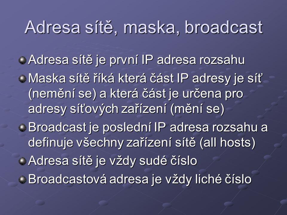 Adresa sítě, maska, broadcast