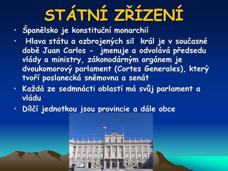 STÁTNÍ ZŘÍZENÍ Španělsko je konstituční monarchií