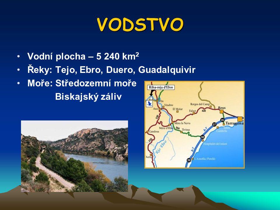 VODSTVO Vodní plocha – 5 240 km2 Řeky: Tejo, Ebro, Duero, Guadalquivir