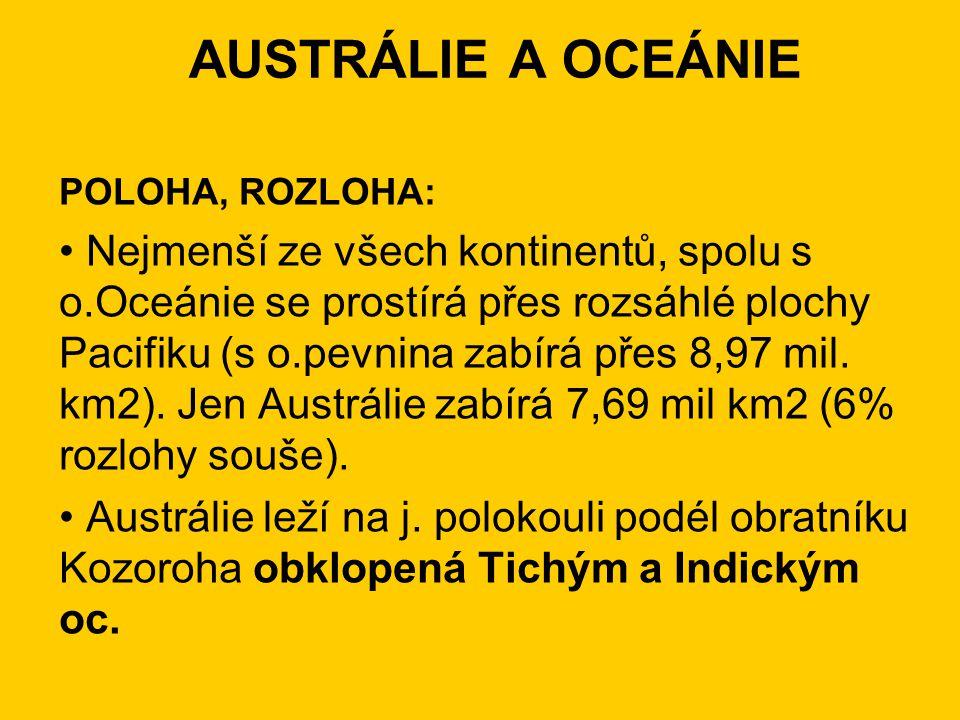 AUSTRÁLIE A OCEÁNIE POLOHA, ROZLOHA: