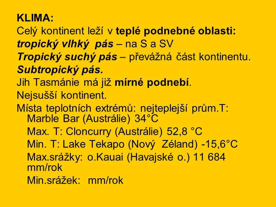 KLIMA: Celý kontinent leží v teplé podnebné oblasti: tropický vlhký pás – na S a SV. Tropický suchý pás – převážná část kontinentu.