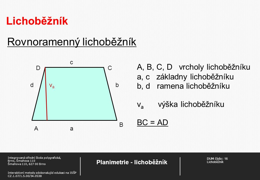 Planimetrie - lichoběžník