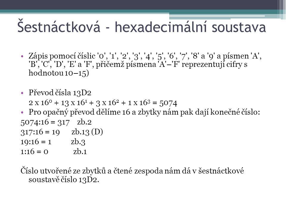 Šestnáctková - hexadecimální soustava