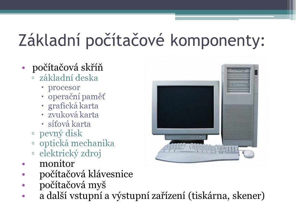Základní počítačové komponenty: