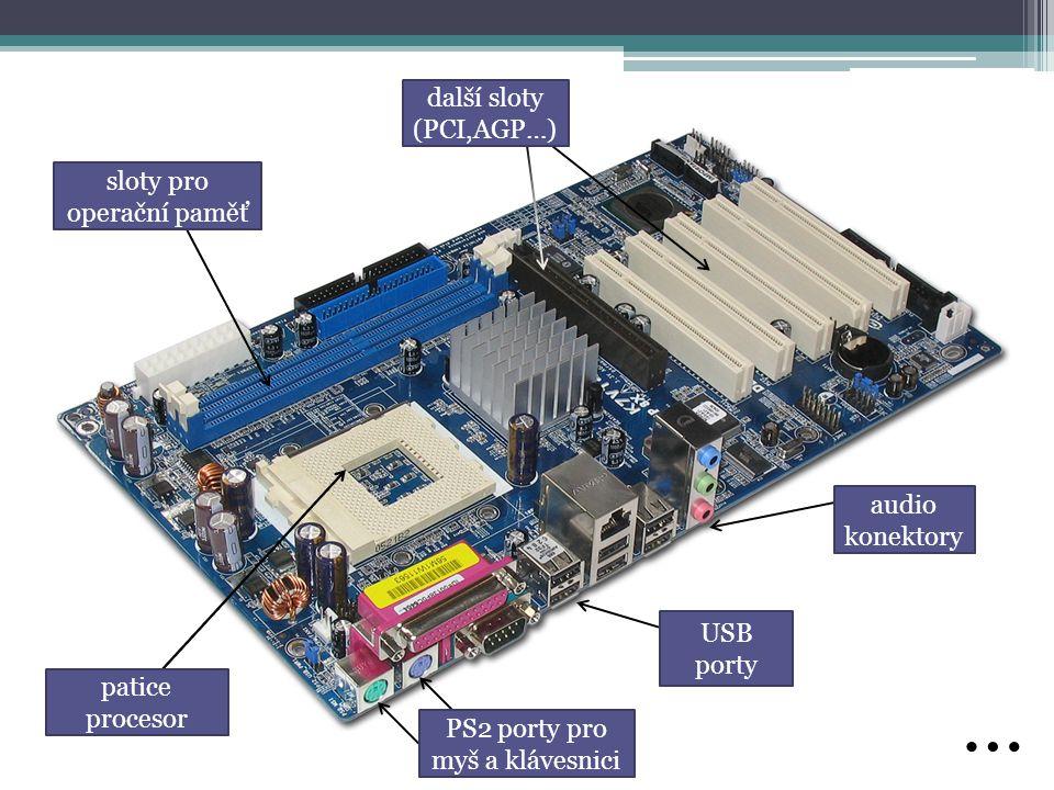 … další sloty (PCI,AGP…) sloty pro operační paměť audio konektory
