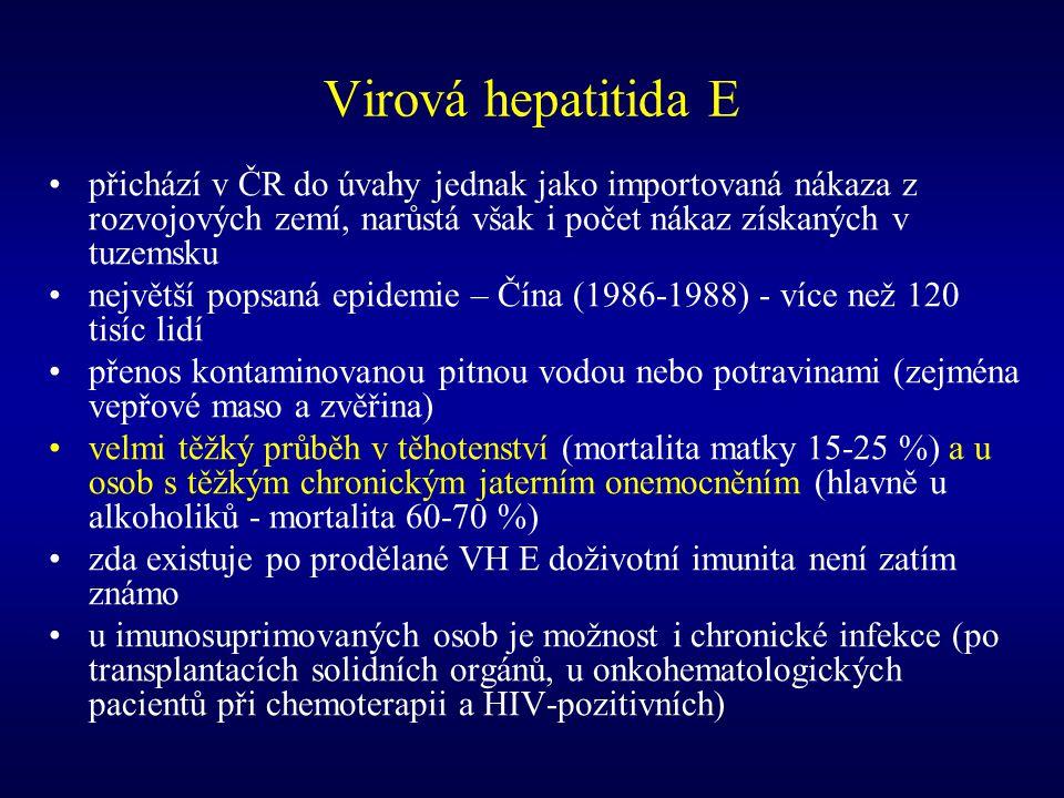 Virová hepatitida E přichází v ČR do úvahy jednak jako importovaná nákaza z rozvojových zemí, narůstá však i počet nákaz získaných v tuzemsku.