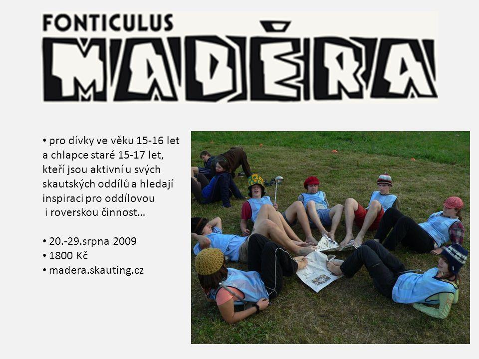 pro dívky ve věku 15-16 let a chlapce staré 15-17 let, kteří jsou aktivní u svých. skautských oddílů a hledají.
