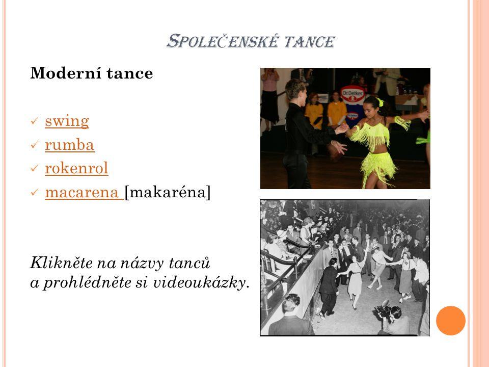 Společenské tance Moderní tance swing rumba rokenrol