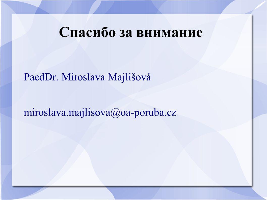 Спасибо за внимание PaedDr. Miroslava Majlišová