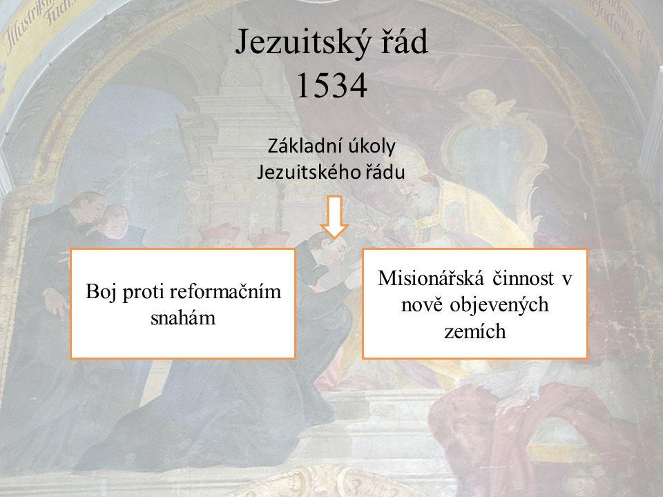 Jezuitský řád 1534 Základní úkoly Jezuitského řádu