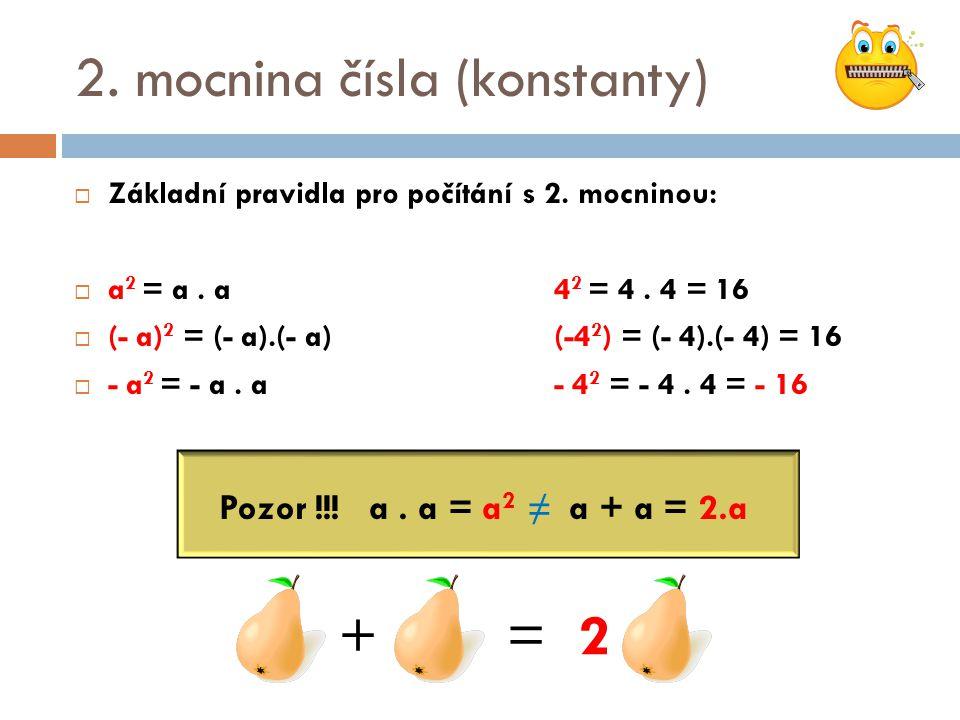 2. mocnina čísla (konstanty)