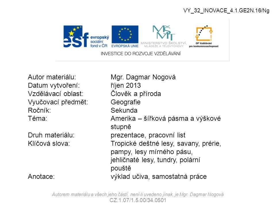 Autor materiálu: Mgr. Dagmar Nogová Datum vytvoření: říjen 2013