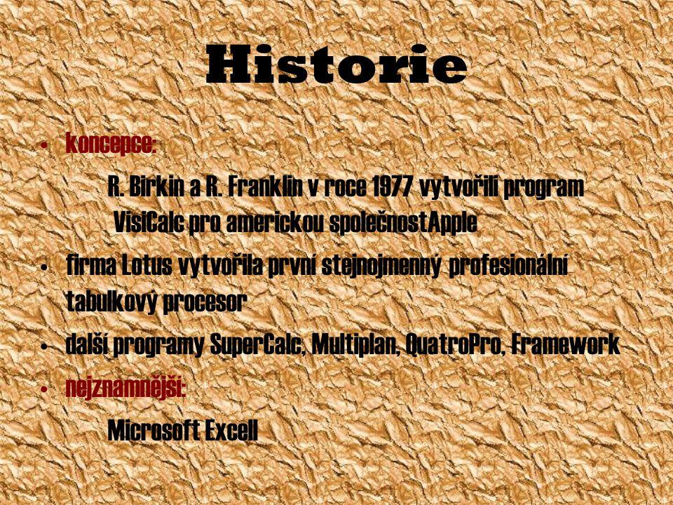 Historie koncepce: R. Birkin a R. Franklin v roce 1977 vytvořili program VisiCalc pro americkou společnostApple.