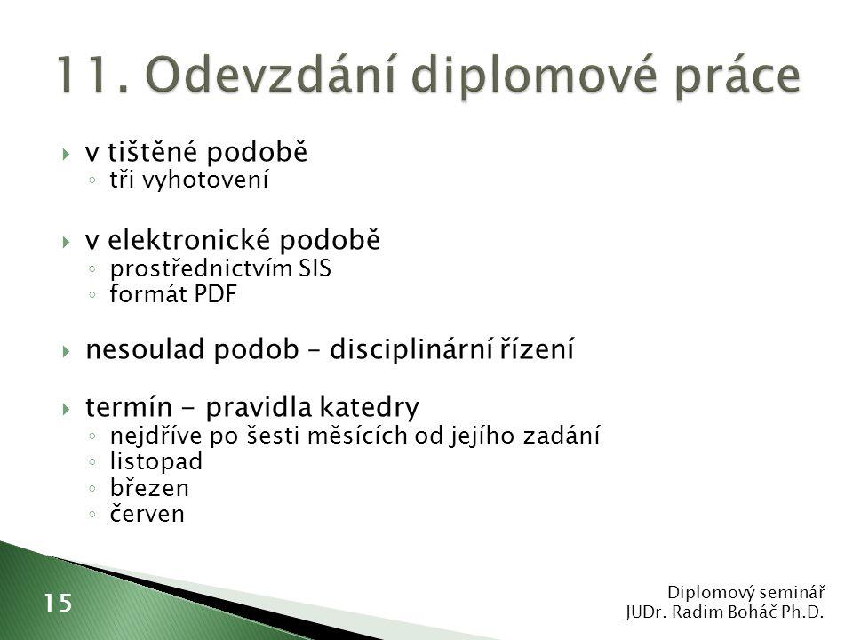 11. Odevzdání diplomové práce