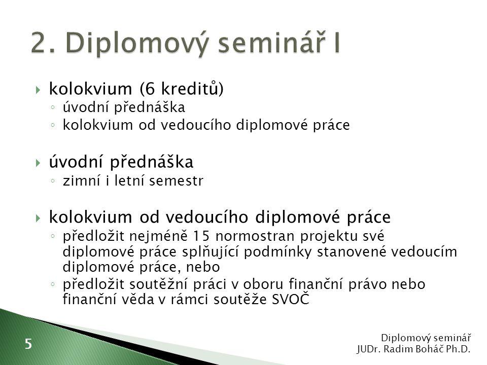 2. Diplomový seminář I kolokvium (6 kreditů) úvodní přednáška