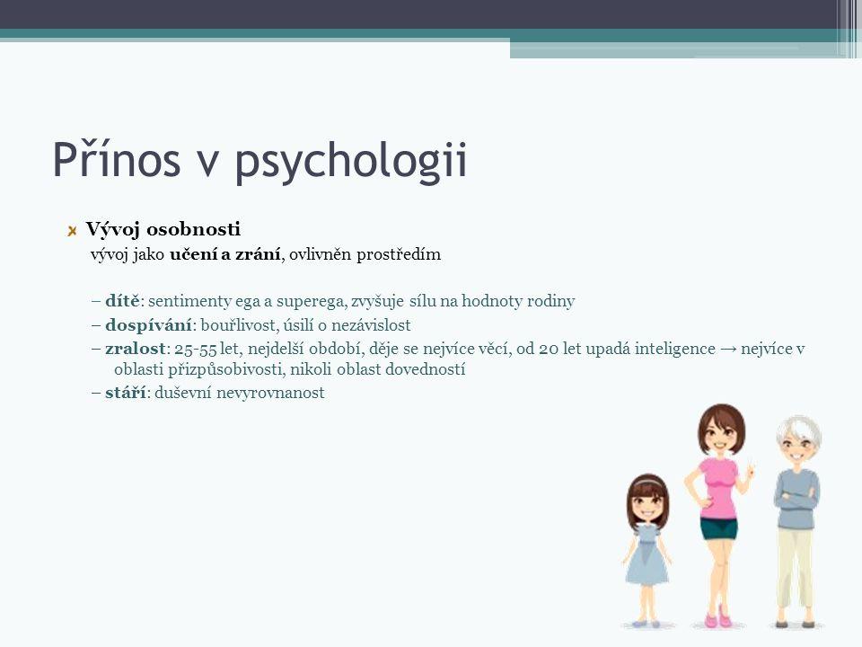 Přínos v psychologii Vývoj osobnosti