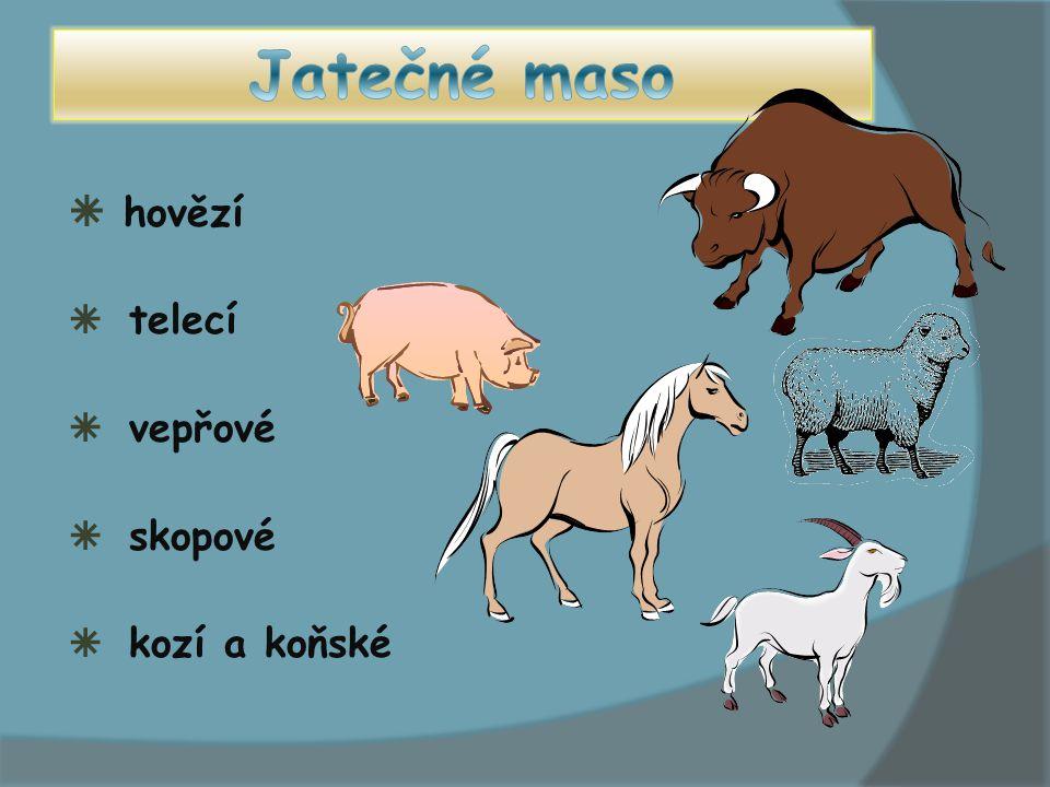 Jatečné maso hovězí telecí vepřové skopové kozí a koňské