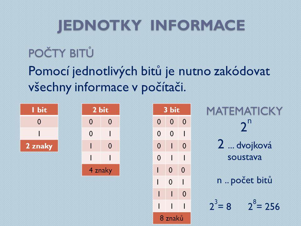 Jednotky informace Počty bitů. Pomocí jednotlivých bitů je nutno zakódovat všechny informace v počítači.