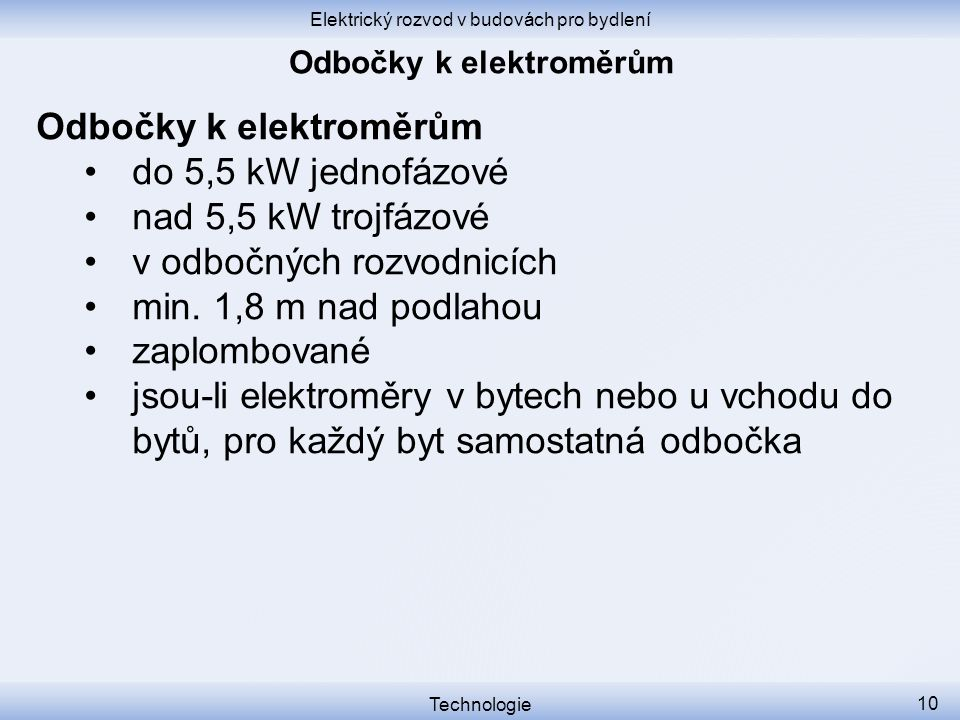 Odbočky k elektroměrům