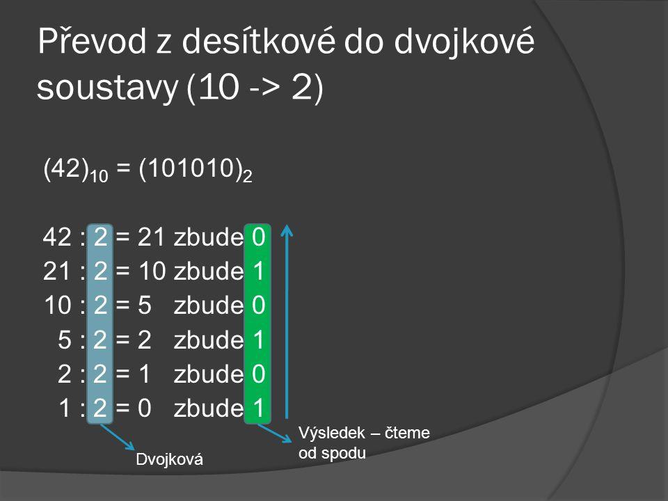 Převod z desítkové do dvojkové soustavy (10 -> 2)