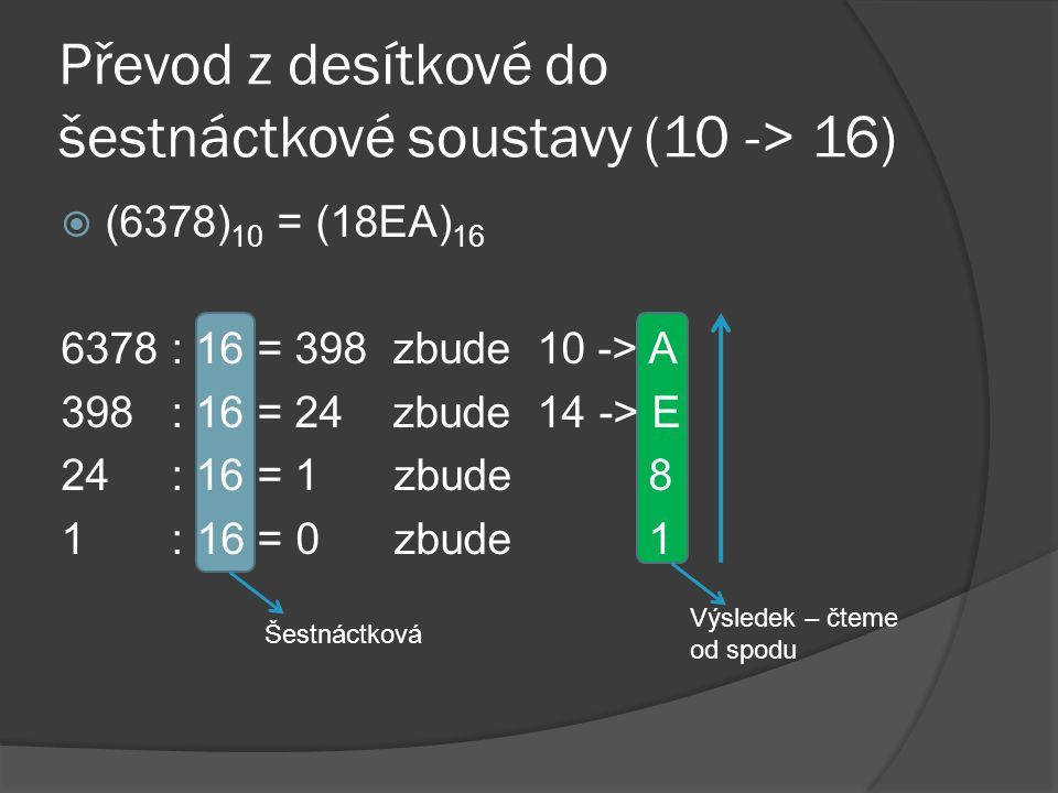 Převod z desítkové do šestnáctkové soustavy (10 -> 16)