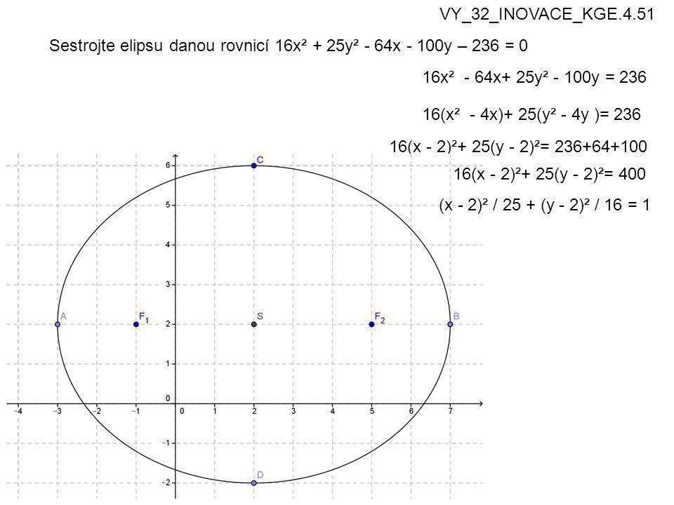 VY_32_INOVACE_KGE.4.51 Sestrojte elipsu danou rovnicí 16x² + 25y² - 64x - 100y – 236 = 0. 16x² - 64x+ 25y² - 100y = 236.