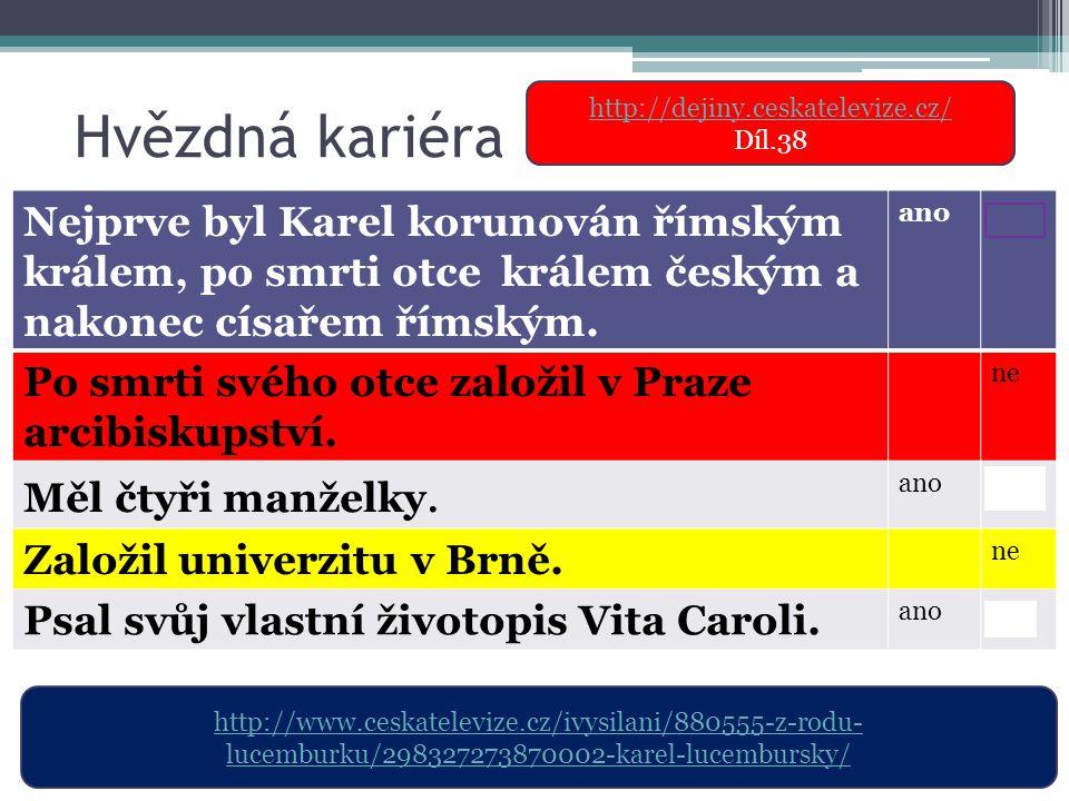 Hvězdná kariéra http://dejiny.ceskatelevize.cz/ Díl.38.