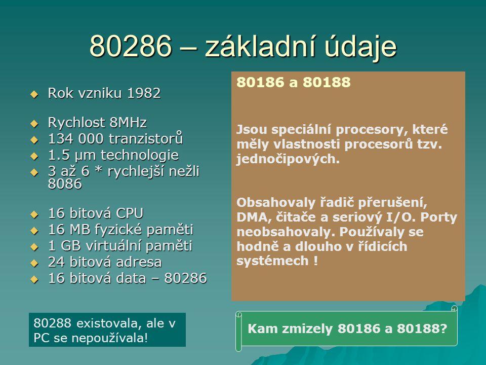 80286 – základní údaje 80186 a 80188 Rok vzniku 1982 Rychlost 8MHz