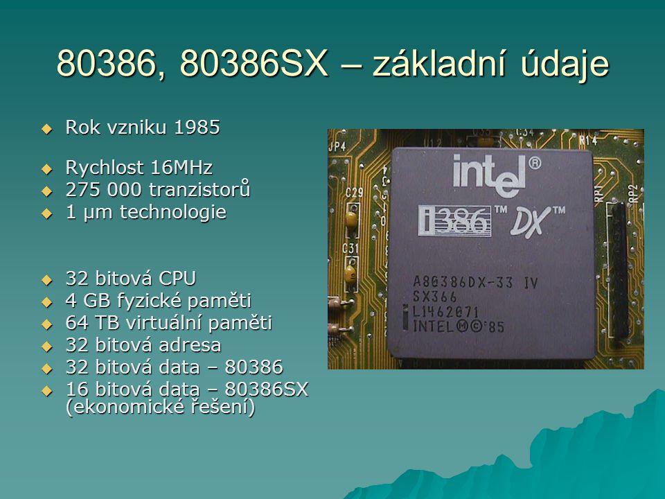 80386, 80386SX – základní údaje Rok vzniku 1985 Rychlost 16MHz