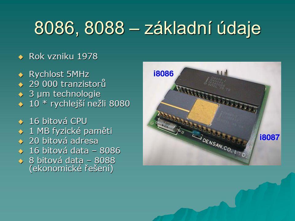 8086, 8088 – základní údaje Rok vzniku 1978 Rychlost 5MHz