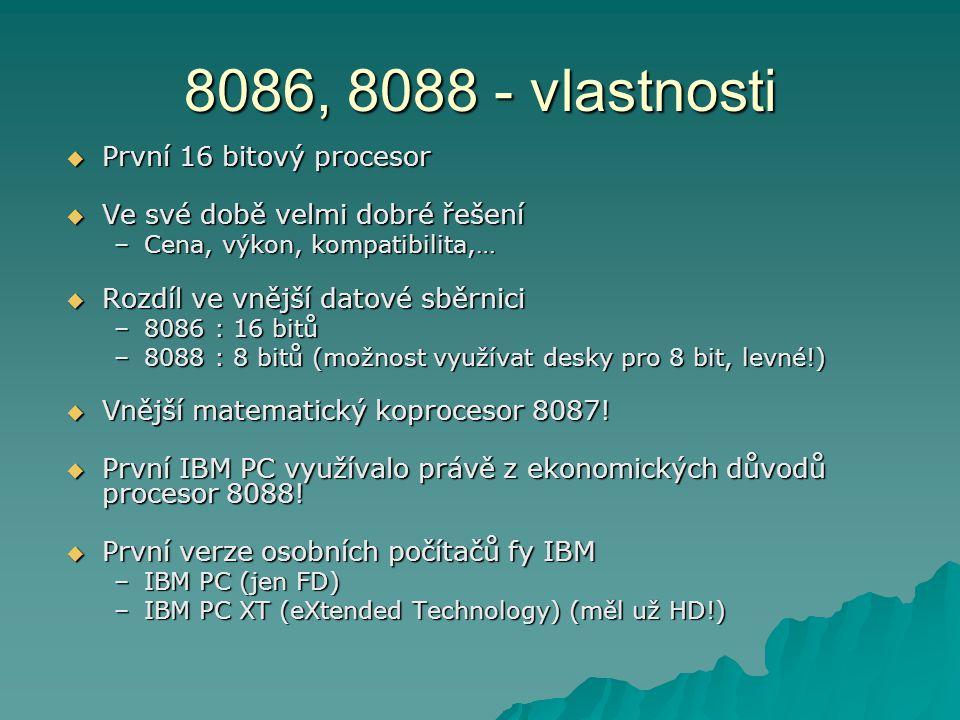 8086, 8088 - vlastnosti První 16 bitový procesor