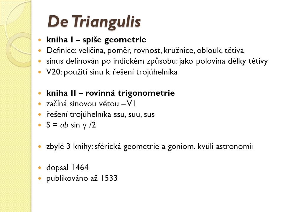 De Triangulis kniha I – spíše geometrie