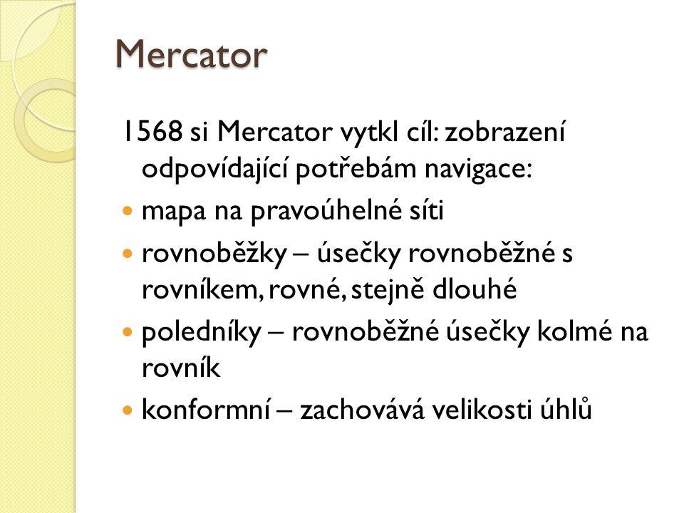 Mercator 1568 si Mercator vytkl cíl: zobrazení odpovídající potřebám navigace: mapa na pravoúhelné síti.