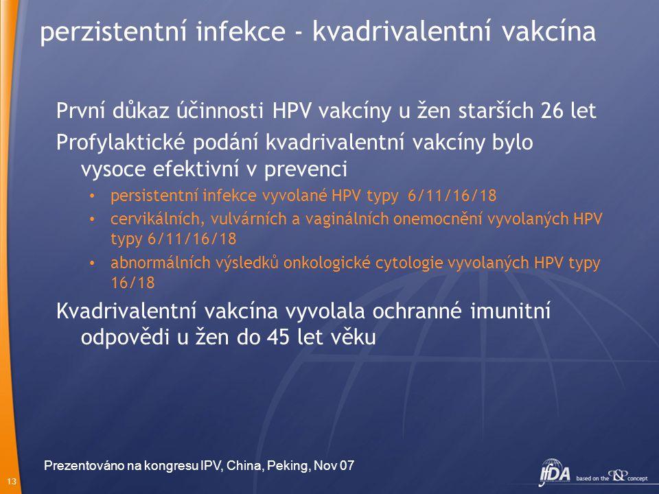 perzistentní infekce - kvadrivalentní vakcína
