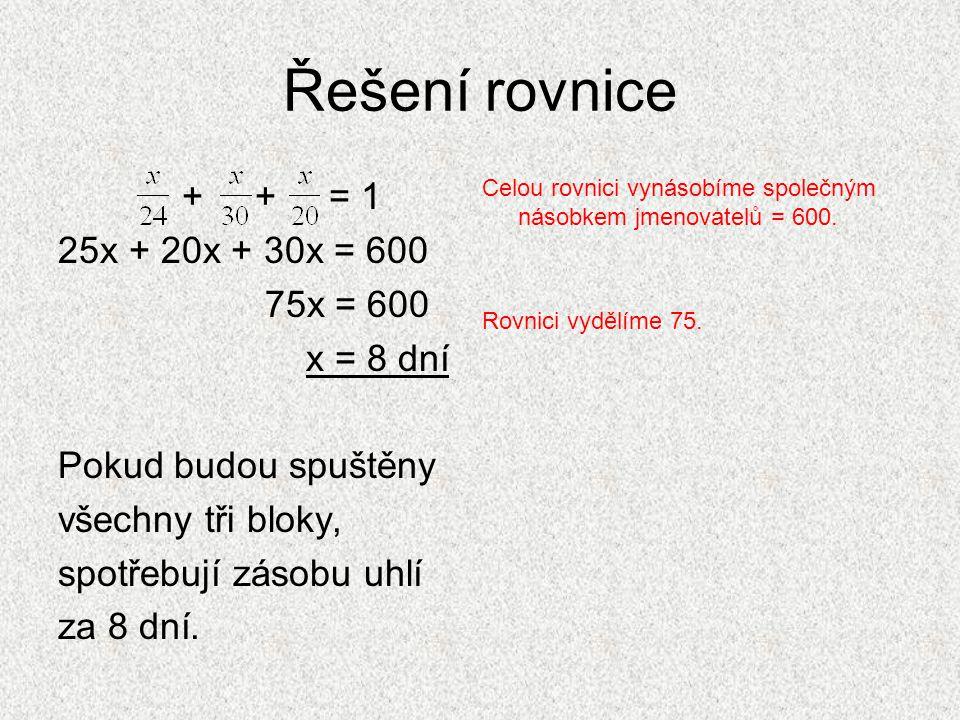 Řešení rovnice + + = 1 25x + 20x + 30x = 600 75x = 600 x = 8 dní