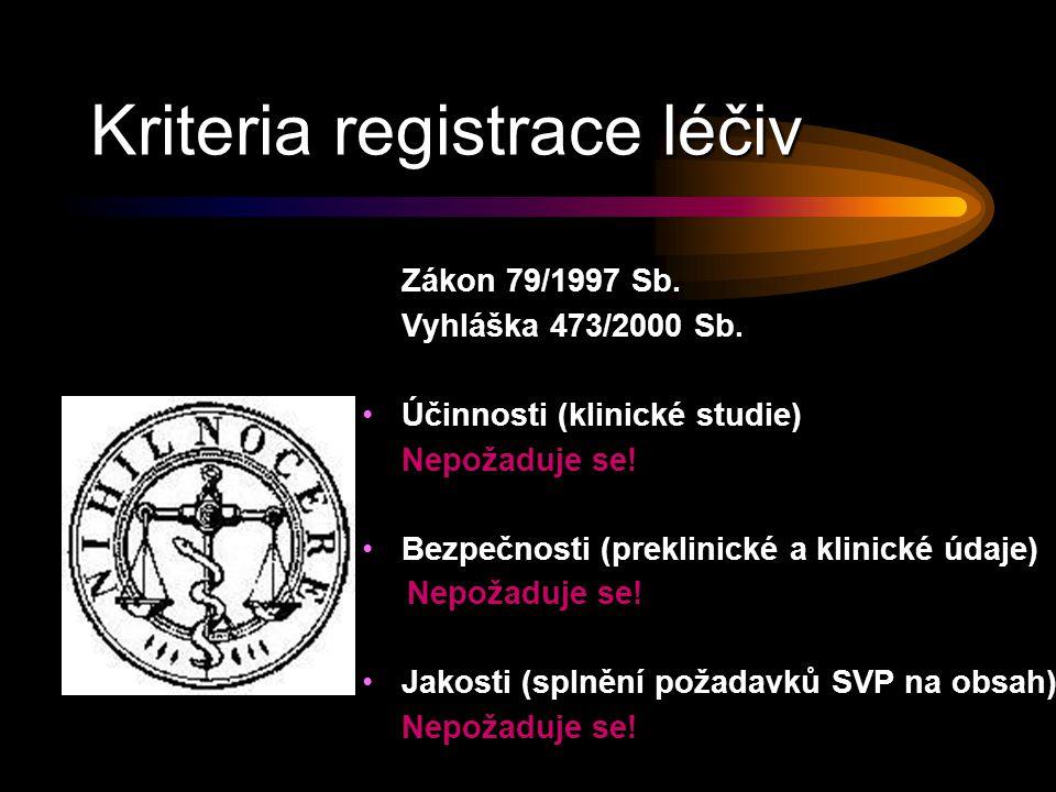 Kriteria registrace léčiv